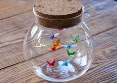 Origami Birds in a Bottle / Jar Origami Crane in Glass Bottle - Gift for Her - Wedding Favour. Origami Birds in a Bottle / Jar Origami Crane in Glass Bottle - Gift for Her - Wedding Favour - Origami Bird - Small Paper Bird Peace Crane , Origami Design, Diy Origami, Origami Star Box, Origami Wedding, Origami Ball, Origami Fish, Useful Origami, Origami Tutorial, Origami Paper