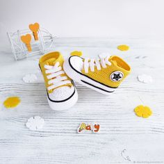 Buy knitted booties converse sneakers yellow on Livemaster online shop