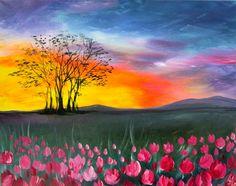 . Cavas Painting, Acrylic Painting Canvas, Painting Art, Summer Painting, Autumn Painting, Easy Painting Projects, Painting Classes, Art Projects, Landscape Art
