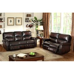 Crestview Dark Brown Top Grain Leather Reclining Sofa and Loveseat