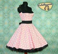 50's vintage dress full skirt Polka Dots by Lolablossomclothing,