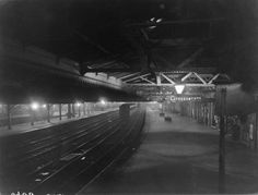 Sheffield old passenger station by artificial light, 1912
