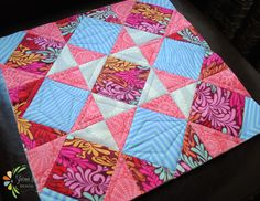 Quilt as you go tutorial with block of the month quilt pattern using tula pink fabric @ rebeccamaedesigns.com