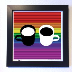 "Gallery: Go series ""Coffee talks"" (2015) 12 x 12 inch, Digital art - Giclee print on enhanced matte paper. 14 x 14 inch, frame - Stain black and glass. Signed by Jon Savage ($60.00) ---------------------------------- #art #artist #popart #popartist #digitalart #contemporary #contemporaryart #coffee #mug #rainbow #sandiego #california #jonsavagegallery"