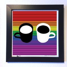 "Gallery: Go series ""Coffee talks"" (2015) 12 x 12 inch, Digital art - Giclee print on enhanced matte paper. 14 x 14 inch, frame - Stain black and glass. Signed by Jon Savage ($60.00) ---------------------------------- #art #artist #popart #popartist #digitalart #contemporary #contemporaryart #coffee #mug #rainbow #sandiego #california #jonsavagegallery"