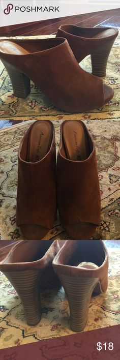 "American Eagle Size 8.5,Heel 4"" brown slip on All man made materials.  No wear on uppers. American Eagle Shoes"