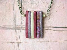 Spikes Pendant Ceramic Spikes Necklace in Shades of Deep Red and Lilac Gift Box. $ 26.00, via Etsy.