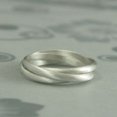 Silver Rolling Ring--Sterling Silver Interlocking Ring--Silver Russian Wedding Ring--Silver Triple Rolling Band