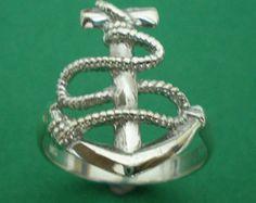 Nautical Bridesmaid Anchor Silver Ring Size US 3 - 14