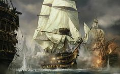 This HD wallpaper is about arte, barcos, guerra, pintura, Original wallpaper dimensions is file size is