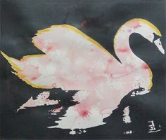 Swan - Metallic Grey/Black with Pink and Gold