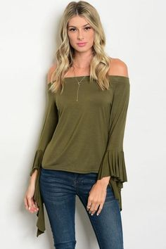 0cb9b86f2c879 Olive Off Shoulder Top W  Ruffle Bell Sleeve