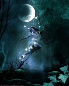"Blue moon fairy dance. (...those with ""fairy sight"" often find their gift of sight keener at night...)"