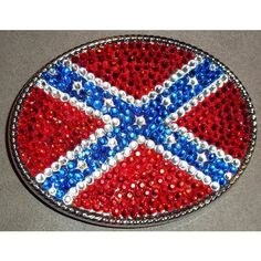 Ole Miss Inspired Rebel Flag Crystal Rhinestone Large Oval Belt Buckle ($89) ❤ liked on Polyvore