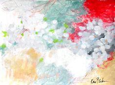"Casting Petals 18x24"" abstract mixed media work on paper by Kerri Blackman"