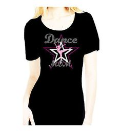 ALL RHINESTONE DANCE MOM LETS GO DIAMANTE SCOOP NECK WOMANS BLING TEE SHIRT