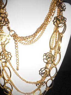 "Vintage To Modern Multi chain gold tone filigree flower interlaced detail 32"""