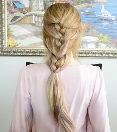 Simple French braid hairstyle for long hair