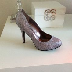 Glitter Heels Silver & Glittered heel, worn on one occasion. These sparkly heels are in really good condition. Lulu Townsend Shoes Heels