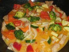Fisch-Gemüse-Pfanne mit Kokosmilch, Low carb * Einfache Rezepte