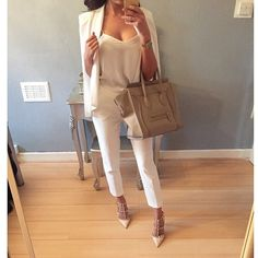 I love this outfit, all white cape blazer cream heels. Spring fashion 2015 and business atire.
