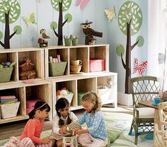 Inspiration for playroom...I love the trees in the background..it will be perfect for the playhouse that will be in the room.