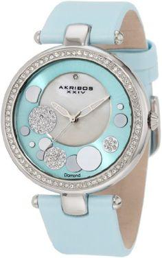 Akribos XXIV Women's AKR434BU Impeccable Quartz Diamond Sunray Mother-Of-Pearl Light Blue Dial Watch