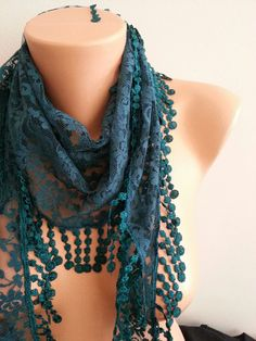 Petrol Green  Lace Scarf with lace fringelariat by SpecialFabrics
