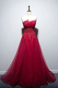 red party dress strapless evening dress tulle long prom dress lace app – shuiruyan The Effective Pictures We Offer You About REd dress party A quality Strapless Prom Dresses, Tulle Prom Dress, Dress Lace, Party Dress, A Line Evening Dress, Evening Dresses With Sleeves, Applique Dress, The Dress, Dress Red