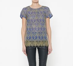 Peter Som Royal Blue And Dark Yellow Top