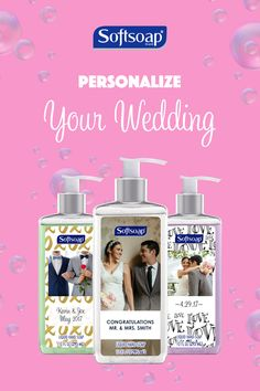 Customize your wedding with personalized Softsoap®. Create yours today at mysoftsoap.com.