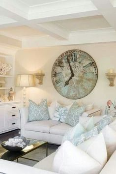 Beautiful! I just love the accent color! : ) 25 Chic Beach House Interior Design Ideas Spotted on Pinterest  - HarpersBAZAAR.com