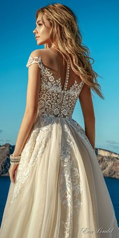 eva lendel 2017 bridal cap sleeves sweetheart neckline heavily embellished bodice romantic ivory color a  line wedding dress lace back chapel train (cameron) bv -- Eva Lendel 2017 Wedding Dresses