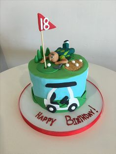 18th birthday for a golf lover! #fun #golf #jokes #hole18 #golfcart #cake