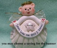 Sweet Teddy Bear Angel on Scallop Shell Christmas by Buttonwilloe, $15.00