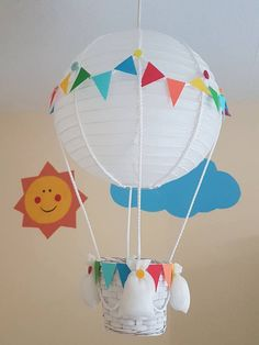 Rainbow bunting Hot air balloon light shade/Hanging decoration Hot air balloon lightshade by LoveLul Diy Hot Air Balloons, Balloon Lights, Balloon Crafts, Balloon Decorations, Balloon Ideas, Balloon Centerpieces, Baby Shower Decorations For Boys, Baby Shower Centerpieces, Rainbow Bunting