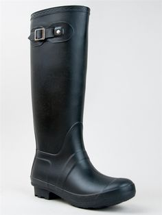 - Beat the downpour in adorable rubber rain boots that offer protection from the tips of the rounded toes to the top of the knee-high shafts. - Boots have ornamental buckles and trim detailing to the