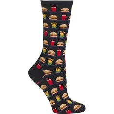 Hot Sox Women's Hamburger, Fries, Drink Socks ($6) ❤ liked on Polyvore featuring intimates, hosiery, socks, black, knit socks, hot sox, hot sox socks and crew length socks