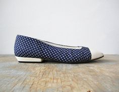 vintage 60s flats / 1960s shoes / blue and by RustBeltThreads, on Etsy....love the polka dots!!!
