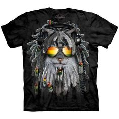 The Mountain RASTAFURRIAN KITTEN T-Shirt S-3XL Cat Disc Jockey DJ Rasta Tee NEW! #catshirt #kittentee #rasta