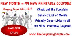 ***NEW MONTH = 99 NEW PRINTABLE COUPONS ~ SAVE OVER $91*** Click the Picture below for the DETAILED List of MOBILE FRIENDLY Direct Links to all 99 NEW Coupons ► http://www.thecouponingcouple.com/99-new-printable-coupons-to-start-september/  Use the SHARE button below the Picture to SHARE this Deal with your Family and Friends!  #Coupons #Couponing #CouponCommunity  Visit us at http://www.thecouponingcouple.com for more great posts!