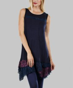 Love this Blue & Purple Lace Sleeveless Tunic by Aster Blue on #zulily! #zulilyfinds