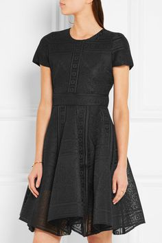 Black bonded lace Concealed hook and zip fastening at back  Fabric1: 100% polyester; fabric2: 100% polyamide; lining: 94% viscose, 6% elastane Dry clean