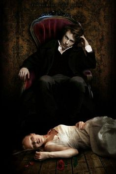 sexy vampire man in velvet, pale skin, velvet chair, victim in a white dress, blonde young woman