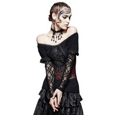 Punk Sexy Lace Sleeves Women Spring Autumn Off Shoulder Gothic Two Wear T-shirts