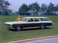 1969 Chevrolet Kingswood Estate Station Wagon with hubcaps from 1968, this must be an early press photo.