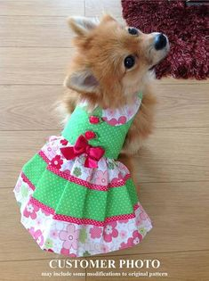 Delightfully charming Abbi Lyn Dog Dress Pattern for your little dog! Constructed of cotton and cotton blend fabrics the dog dress is fully lined using hook and loop fasteners on the neck and belly tabs for ease of dressing. The dog dress pattern features frilly skirts, dainty lace