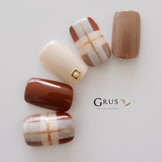 Winter Nails Designs - My Cool Nail Designs Plaid Nail Designs, Plaid Nail Art, Plaid Nails, Sweater Nails, Gel Nail Designs, Rose Nails, My Nails, Manicure, Korean Nails