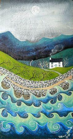 quilt inspiration: art by Valeriane Leblond Art And Illustration, Illustrations, Landscape Quilts, Landscape Art, Ouvrages D'art, Naive Art, Art Graphique, Art Design, Art Plastique
