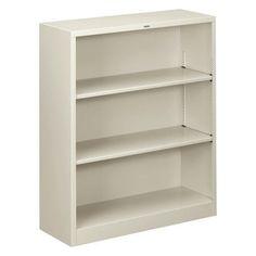 hon metal bookcase three shelf 34 12w x 12 - Heavy Duty Bookshelves